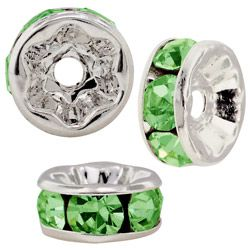 5mm S/S Plated Roundell- Peridot (pk10)