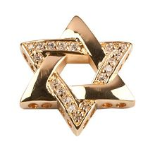 Bead Thru Bead Thru Star of David 25x12mm Gold Plate with Crystal CZ (1 Piece)