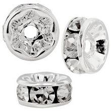 5mm S/S Plated Roundell- Crystal (pk10)