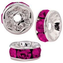 4.5mm S/S Plated Roundell- Fuchsia (pk10)
