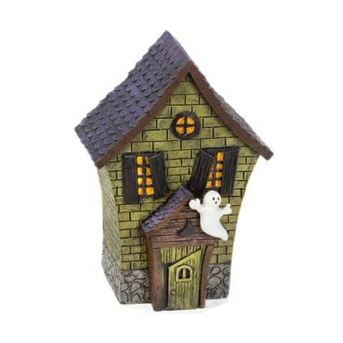 Halloween House Figurine with Ghost Accent - 3.15 x 5.98 inches