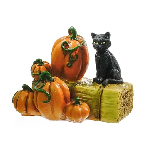 Black Cat on Hay Bail with Pumpkin
