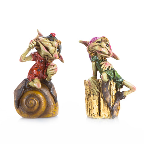 Miniature Fairy Garden Pixies Seated on a Snail Shell or Log