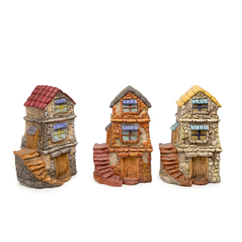 3-Story Stone Fairy Garden Houses - Resin