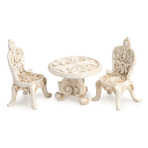 Fancy Fairy Garden Table and Chair - Ivory - Resin - 3 pieces