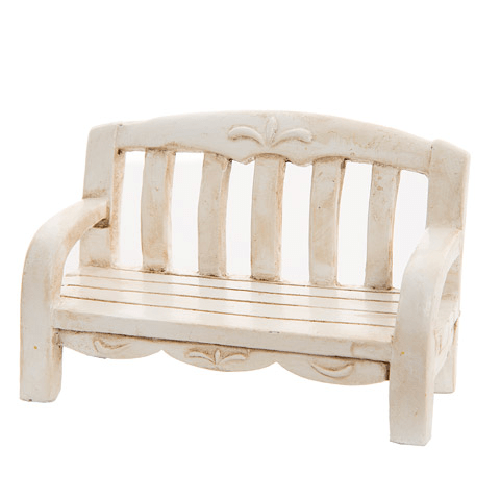 Ivory Fairy Garden Bench with Carvings