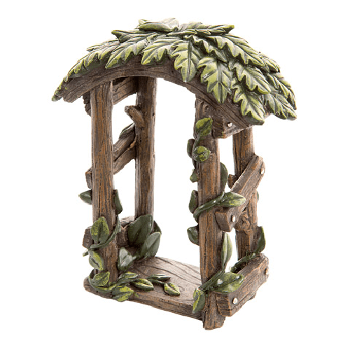 Fairy Garden Accessories: Wood-Look Resin Fairy Garden Arch with Ivy