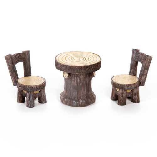 Fairy Garden Furniture Set - Woodlook Table and Chairs - 3 pieces
