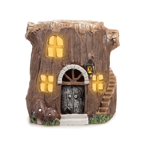 Light Up LED Fairy Garden Tree Stump House - 3.875 x 4.25 inches