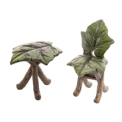 Fairy Garden Furniture Set: Mini Leaf Table & Chair