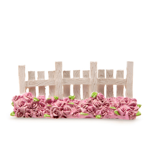Garden Fence - White With Rose Bed - 2.25 x 5 x 1.25 inches