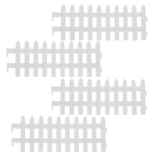 Mini Folding Picket Fence - White Metal - 4 pieces