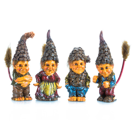 Miniature Fairy Garden Pixies Wearing Pinecone Hats, 4 Assorted