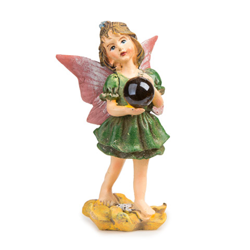 Miniature Fairy Figurine - Standing Fairy w/ Gazing Ball - 2.25 x 3.75 in