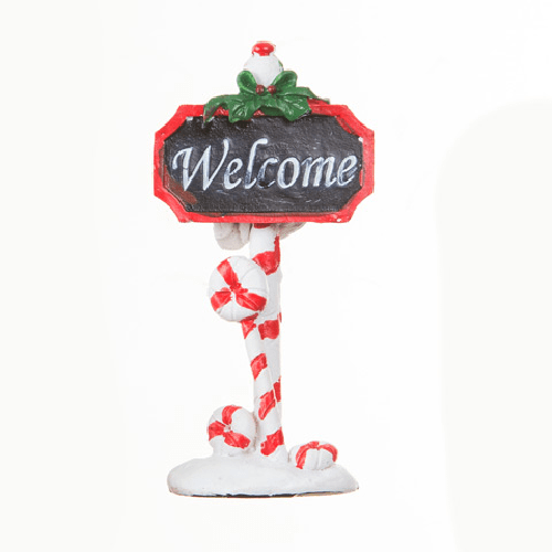 Candy Cane Welcome Sign Christmas Miniature