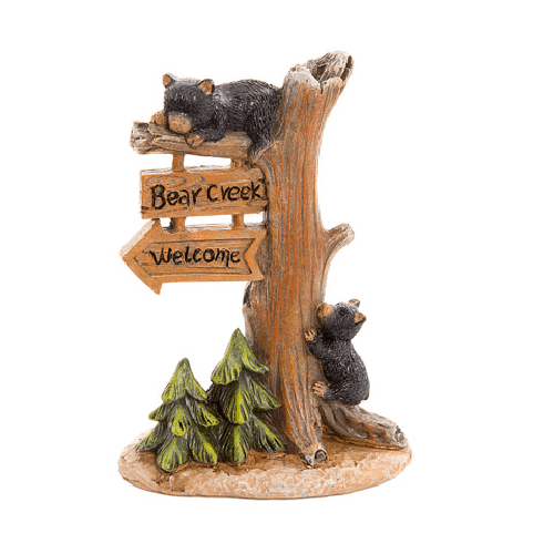 Fairy Garden Welcome Sign with Black Bear Cubs