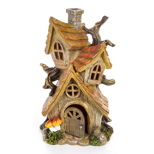 Fairy Tree House - 3 Stories - Resin - 12 x 7.75 x 6.75 inches