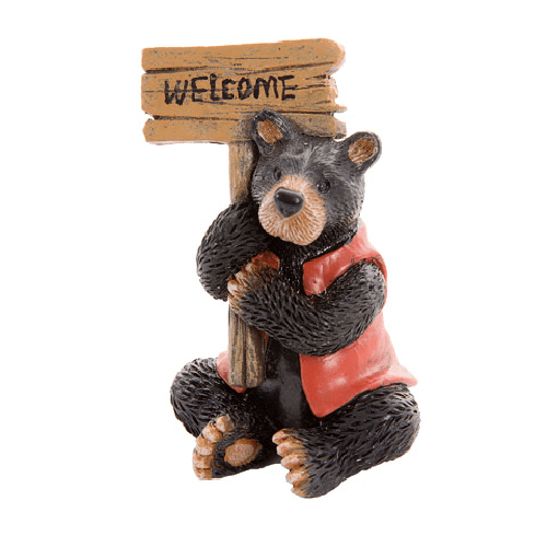 Fairy Garden Animals: Miniature Black Bear w/ Red Coat & Welcome Sign
