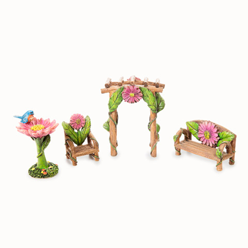 Fairy Garden Furniture - Resin Pink Flower Garden Set - 4 pieces