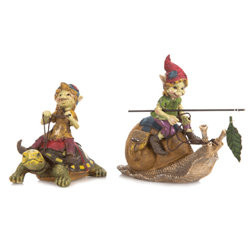 Miniature Fairy Garden Pixies Riding a Turtle or Snail