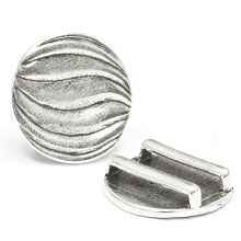 Antique Silver 20mm Round Slider for Flat Leather (1 piece)