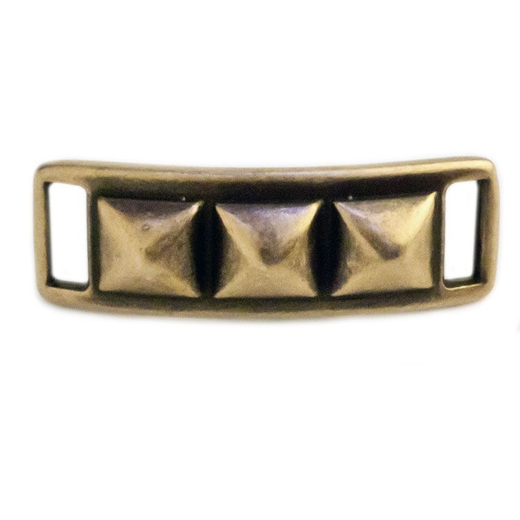 42 x 18mm Spiked Bracelet ID Bar for Flat Leather - Antique Brass (1 Piece)