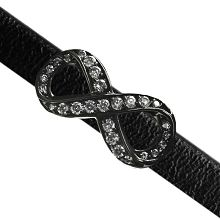30 x 15mm Pave Infinity Slider for Flat Leather - Black Ruthenium with Crystal