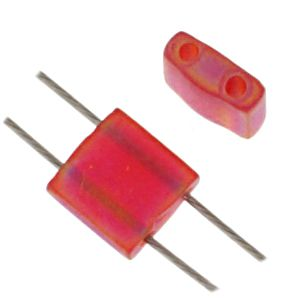 TILA 5x5mm 2Hole approx. 5.2g Red Transparent Matte AB